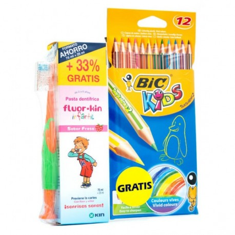 Flúor Kin Infantil PACK Pasta Dentífrica 75+25 ml, + Cepillo + 12 Lápices de Colores Bic